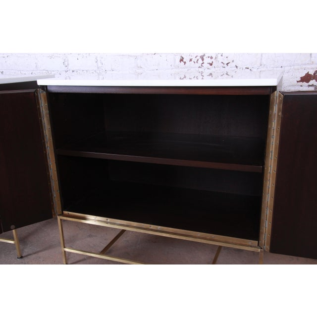 Brass Paul McCobb Irwin Collection Mahogany and Brass Sideboard Cabinets (2 Available) For Sale - Image 7 of 13