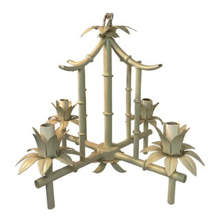 Petite Faux Bamboo Chandelier For Sale