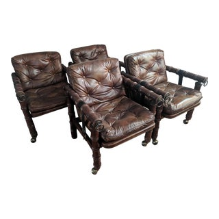 Bamboo Inspired Tufted Vinyl Chairs - Set of 4 For Sale