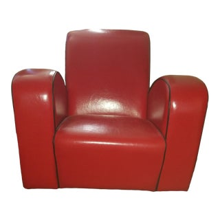 Art Deco Red Leather Lounge Chair For Sale