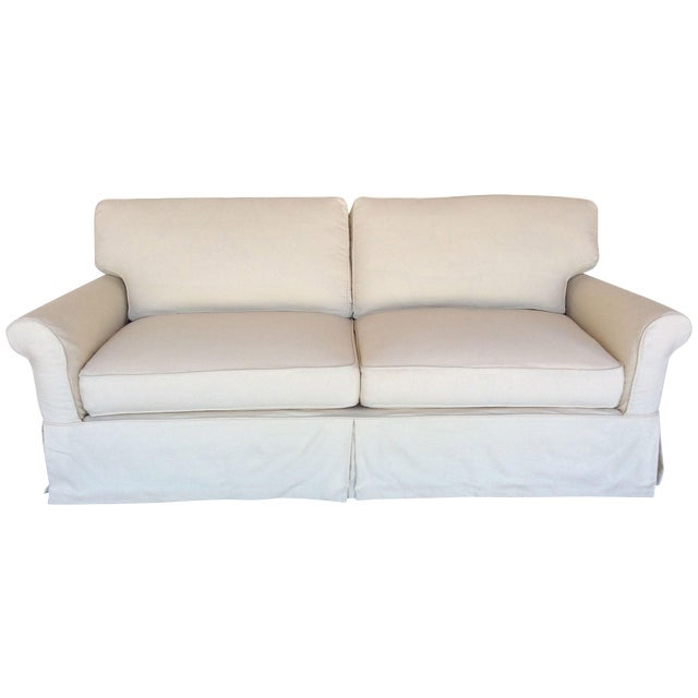 Slipcovered Roll Arm Sofa in Belgian Linen - Image 1 of 8