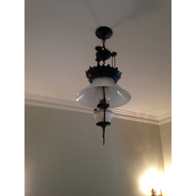 Pendant lighting rewired and ready for installation! Very heavy cast Iron Victorian Light fixture.