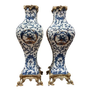 Louis XIV Blue & White Vases With Ormolu Fittings - a Pair For Sale