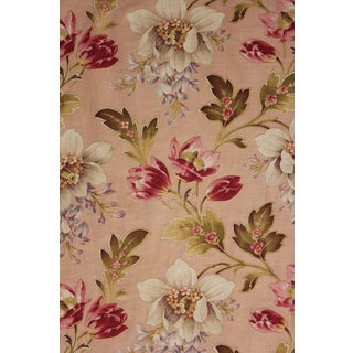Floral Fabric Antique French C1900 Large Scale Indienne Cotton Wisteria Pattern For Sale