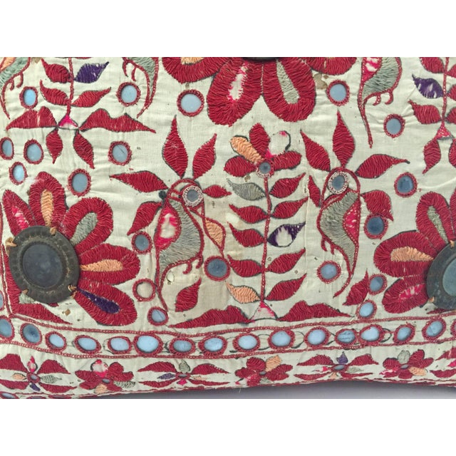 Mid 19th Century 19th Century Rajasthani Colorful Embroidery and Mirrored Decorative Pillow For Sale - Image 5 of 11