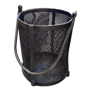 Old Metal Wrought Iron, Steel Handled Basket- Industrial Decorative Object For Sale