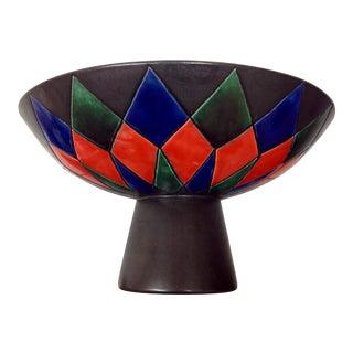 Mid Century Italian Sgraffito Gamboni Style Pedestal Bowl For Sale