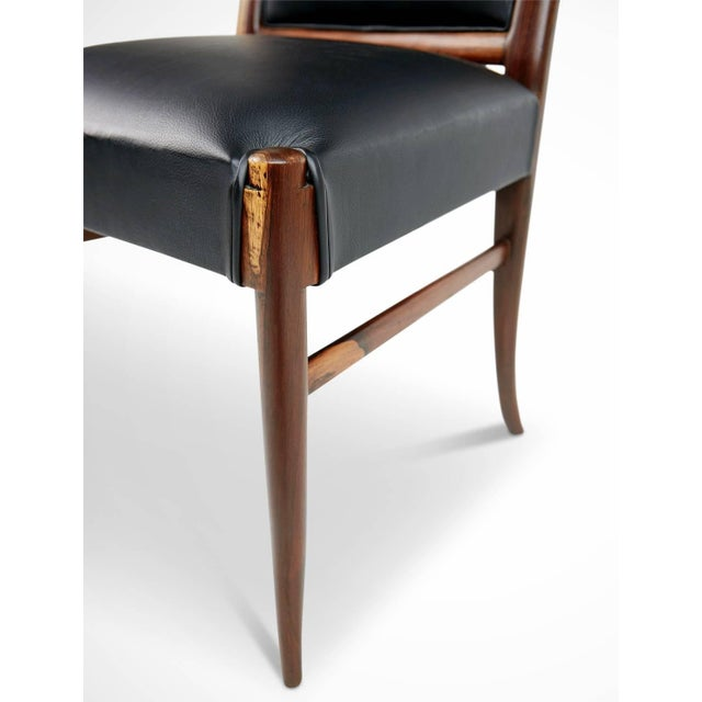 Exotic Jacaranda and Black Leather Dining Chairs, Set of Four, Brazil Circa 1970 For Sale - Image 9 of 11