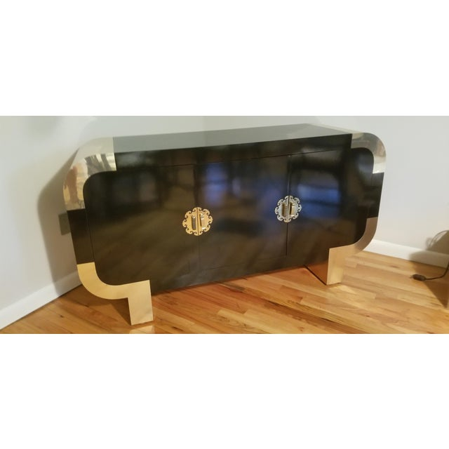1980's Steve Chase Asian Credenza Brass and Gloss Black Laminate Over Hardwood. For Sale - Image 10 of 10