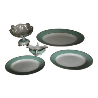 Davis Collamore Aqua Rimmed Platters Compotes Gravy Boat - Set 5pcs. For Sale