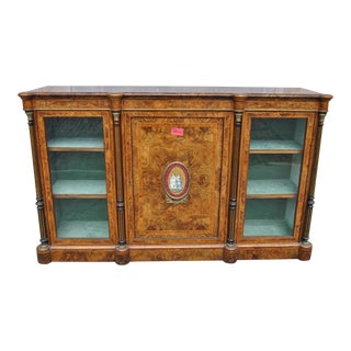 19th Century English Walnut/Burr Walnut Credenza For Sale