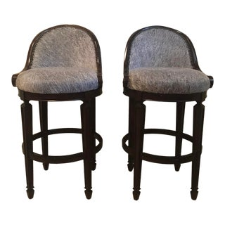 Stanley Furniture Cow Hide Bar Stools- A Pair For Sale