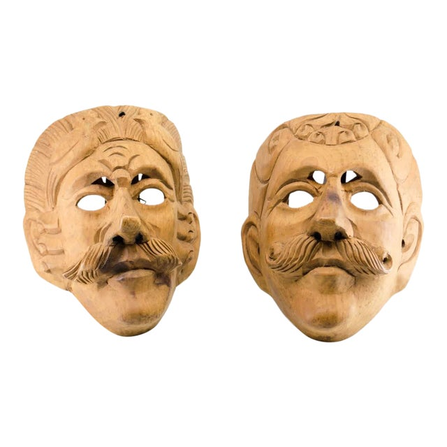 Italian Wood Carved Decorative Male Masks - a Pair For Sale