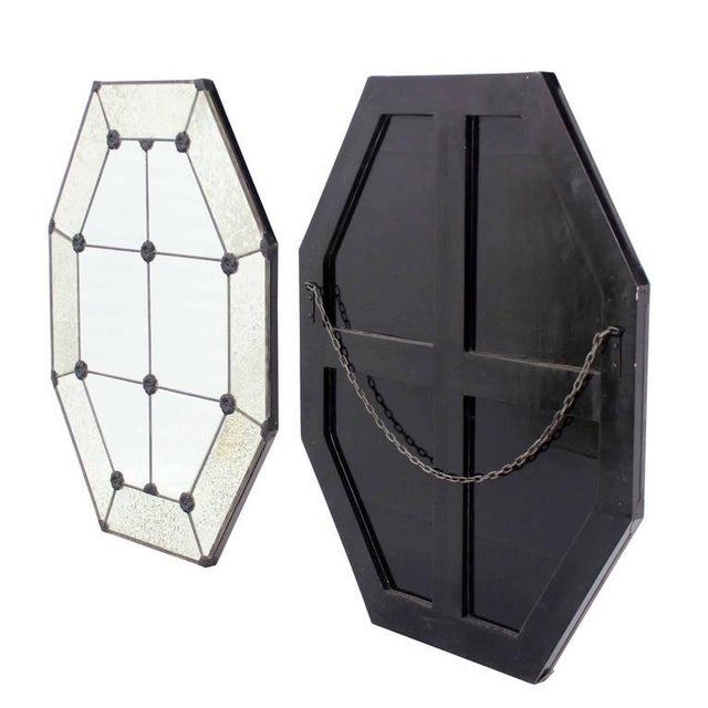 Silver Pair of Large Octagon Wall Mirrors For Sale - Image 8 of 8