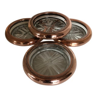 Vintage Copper & Crystal Cavalier Coasters by National Silver - Set of 4 For Sale