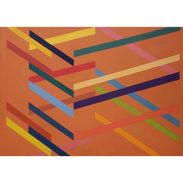 Tom Patrick (American, 20th C.) Vintage Geometric Abstract Painting on Canvas C.1970s For Sale - Image 4 of 11