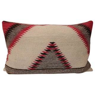 Early Navajo Weaving Sawtooth Pattern Bolster Pillow For Sale