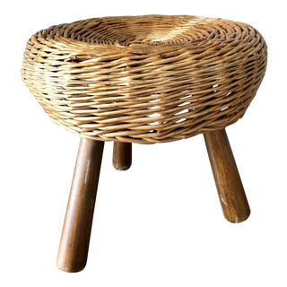 Vintage Tony Paul Wicker Three Leg Footstool For Sale