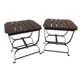 Mid Century Modern Iron & Wood Side Tables - a Pair For Sale