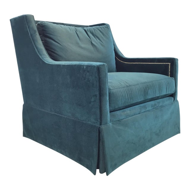 Gabby Helena Blue Velvet Modern Swivel Club Chair For Sale