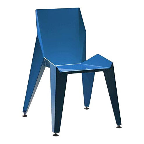 Origami Inspired Edge Blue Chair | Indoor & Outdoor Chair For Sale