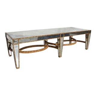 Hollywood Regency Coffee Table in Antiqued Mirror For Sale