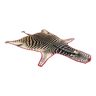 "Forsyth Zebra Hide Rug Trimmed in Red Velvet - 6'10"" x 8'4"" For Sale"