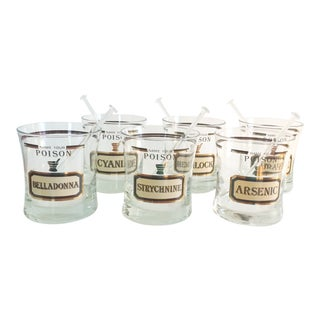""" Name Your Poison"" Double Old Fashioned Glasses With Glass Swizzle Sticks - Set of 6"