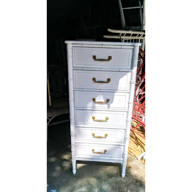 Vintage Henry Link Bali Hai Palm Beach Regency White High Gloss Tall Lingere Dresser Chest For Sale - Image 9 of 9