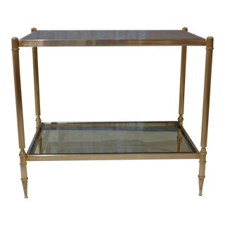 Hollywood Regency Chrome on Brass & Smoked Glass Coffee Table For Sale