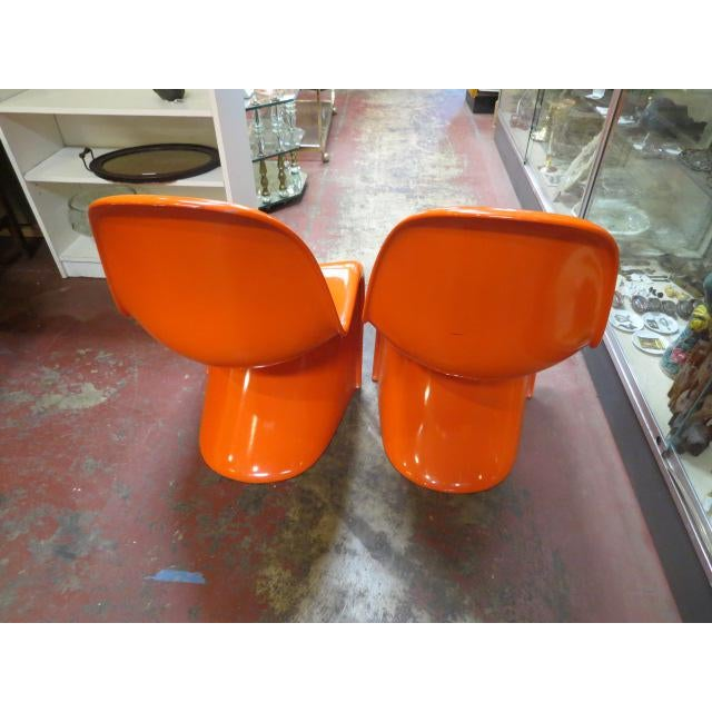Plastic Vintage Vitra for Herman Miller Mid-Century Modern Orange Verner Panton S Chairs - a Pair For Sale - Image 7 of 13