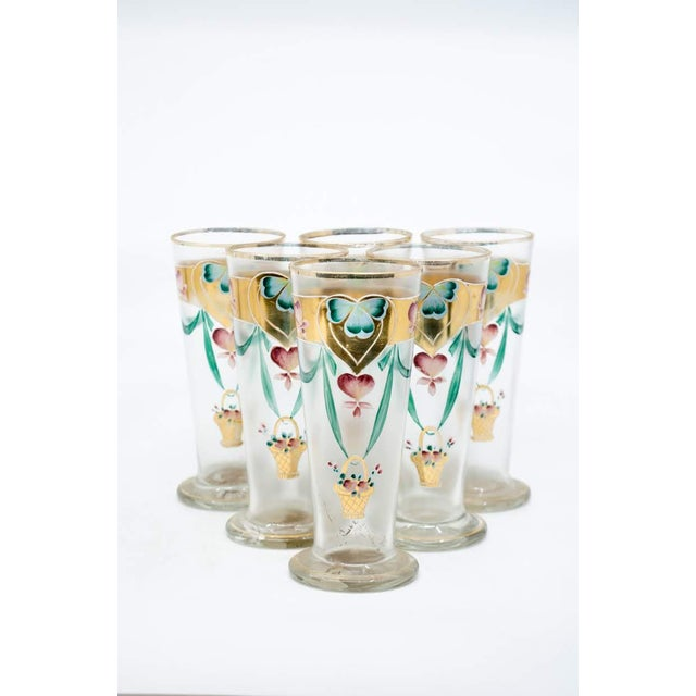 Blue Early 20th C. Victorian Lemonade/Juice Glasses - Set of 7 For Sale - Image 8 of 13
