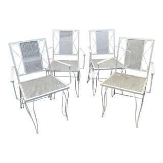 Vintage Iron Mesh Patio Chairs - Set of 4 For Sale