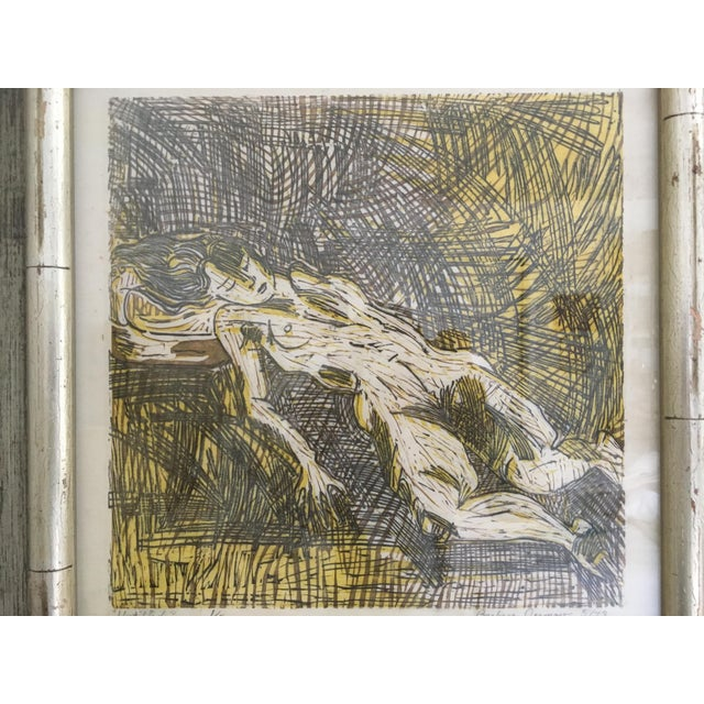 Mid-Century Modern Vintage Mid-Century Abstract Nude Woman Signed Block Print Lithograph For Sale - Image 3 of 11
