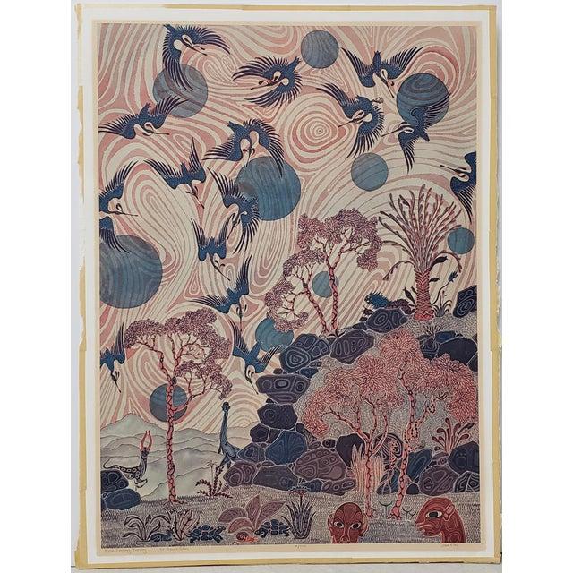 """Jesse Allen (Kenya, B.1936) """"Birds Flocking"""" Original Signed Print For Sale - Image 9 of 9"""