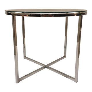 1970s Vintage Milo Baughman Style Chrome and Glass Round End Table For Sale