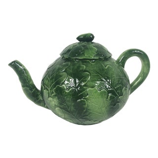 Italian Green Oak Leaf Vietri Foglia Ceramic Tea Pot For Sale
