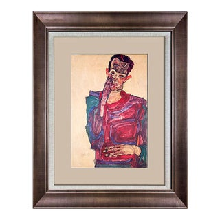 Egon Schiele Limited Edition Lithograph   Self Portrait   Sign W/Frame Included For Sale