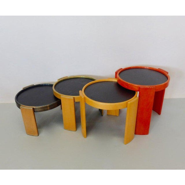 Wood Early Production Gianfranco Frattini for Cassina Flip Top Nesting Tables - Set of 4 For Sale - Image 7 of 12