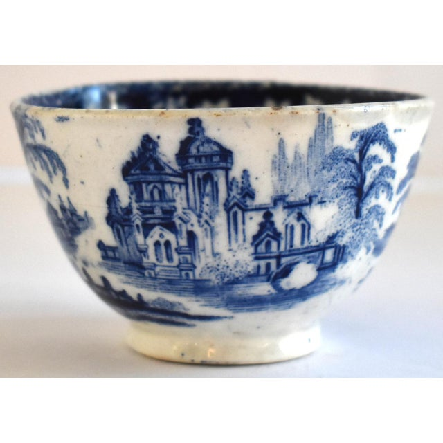 Antique Georgian C. 1815 Staffordshire Blue Transferware Tea Bowl For Sale - Image 10 of 10