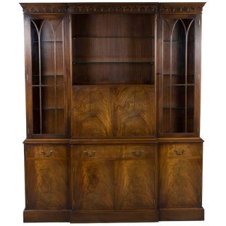 Bevan Mahogany Breakfront Bookcase With Liquor Cabinet Bar