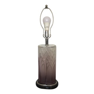 1970s Purple Ombre Glass & Black Lucite Table Lamp For Sale