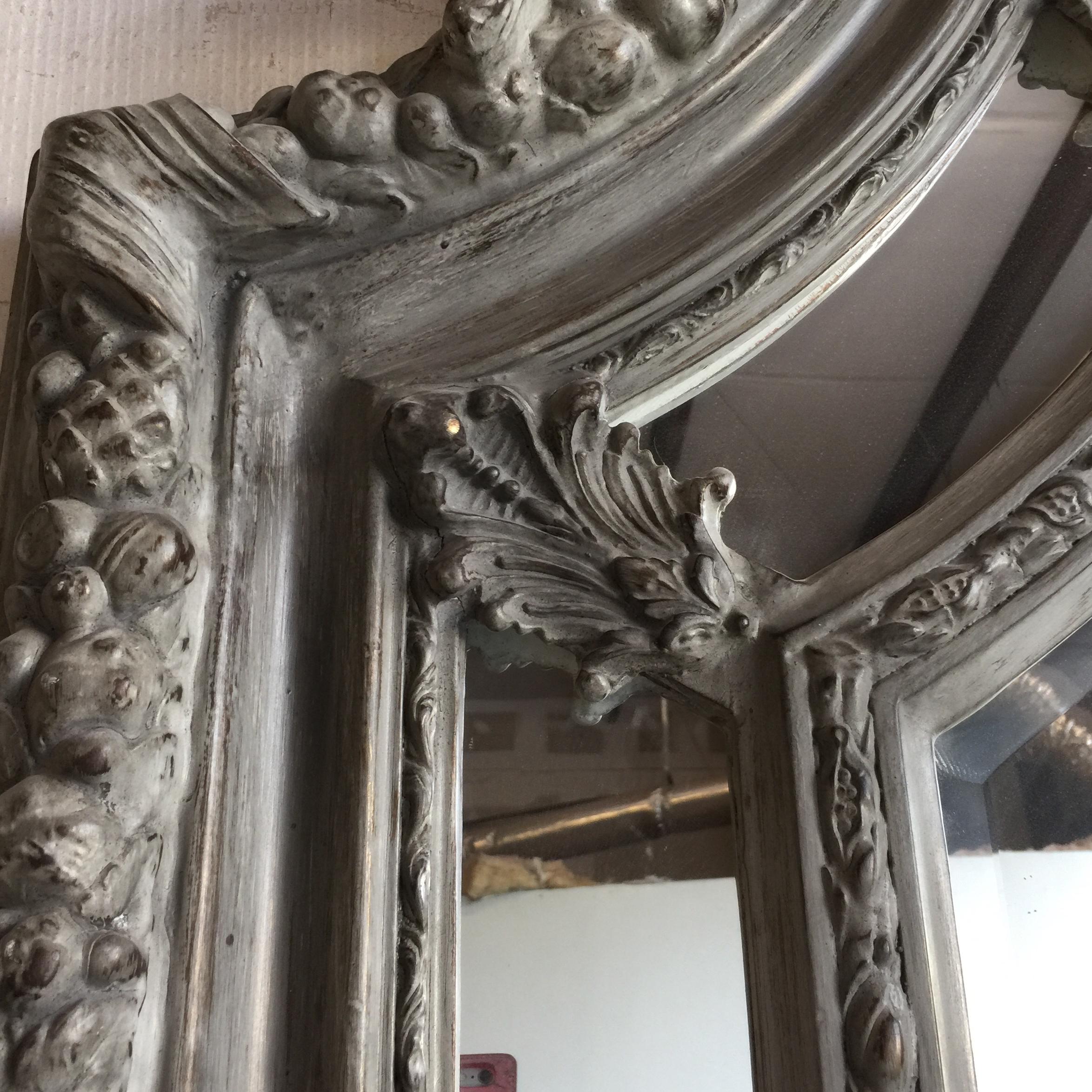 Grey Acanthus Leaf Oversized Floor Mirror   Image 4 Of 6