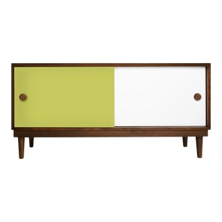 Lukka Modern Kids Credenza Console in Walnut With Green Finish For Sale