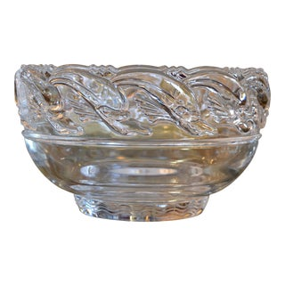 Mid-Century Modern Clear Tiffany & Company Art Glass Crystal Bowl With Dolphins For Sale
