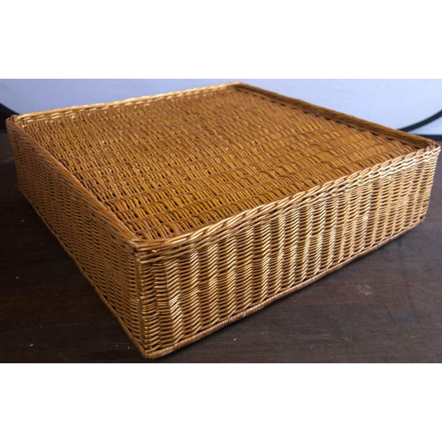Vintage Mid Century Triangular Wicker/Rattan Armchair and Ottoman For Sale - Image 16 of 17