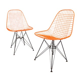Vintage Herman Miller for Eamer Mid-Century Dkr Orange Chairs