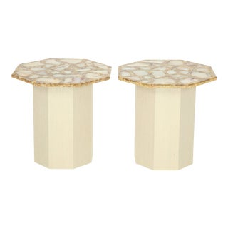 1960s Octagonal Agate Side Tables - a Pair For Sale