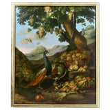 Image of Large Flemish Oil on Canvas of Peacocks and Fruit in Landscape For Sale
