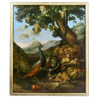 Large Flemish Oil on Canvas of Peacocks and Fruit in Landscape For Sale